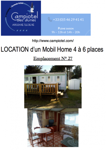 Mobil-home à Ars en ré pour  5 •   2 chambres
