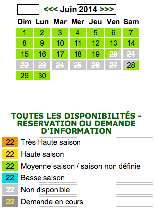 Calendrier r�servation 1 mois
