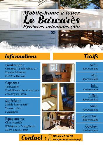 Mobil-home Le Barcarès - 4 personnes - location vacances  n°59021